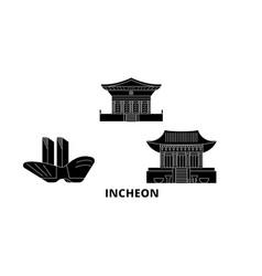 South korea incheon flat travel skyline set vector