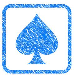 Spades suit framed grunge icon vector