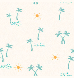 Summer beach pattern with hand drawn palm tree vector