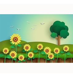 Sunflower with alone tree vector