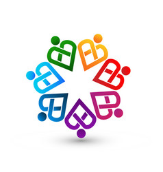 Teamwork colorful heart people abstract icon vector