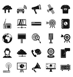 Telecasting icons set simple style vector
