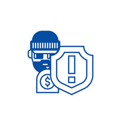 Theftthievery steal insurance line icon concept vector