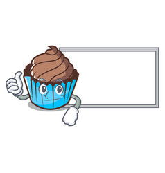 thumbs up with board chocolate cupcake character vector image