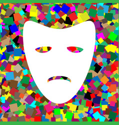 Tragedy theatrical masks white icon on vector