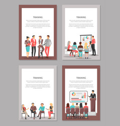Training business posters set of coworkers vector