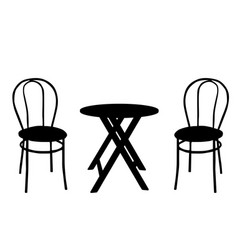 two vintage chairs and round wooden table vector image