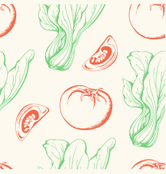 vegetable vintage seamless pattern vector image
