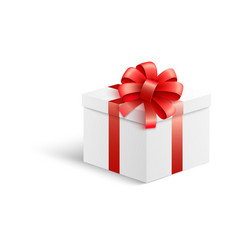 white gift box with red ribbon and bow in vector image