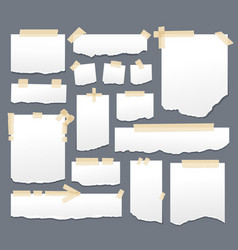 White paper sheets with scotch tape set sticky vector