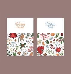 winter christmas greeting card template botanical vector image