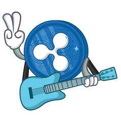 With guitar ripple coin character cartoon vector