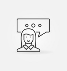woman with speech bubble icon vector image