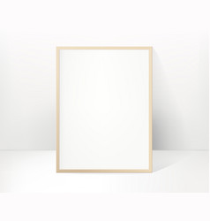 Wood picture or photo frame in bright interior vector