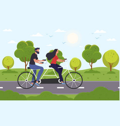 young couple riding on bicycle on asphalt road vector image