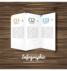 Infographic design steps 1 2 3 on wooden vector image