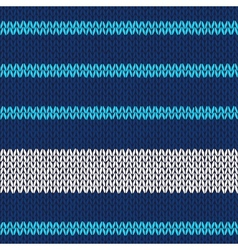 Seamless knitted pattern with blue white stripes vector image vector image