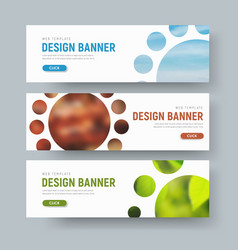 set of white horizontal web banners with round vector image