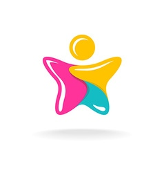 Man in a star shape colorful logo Color parts with vector image vector image