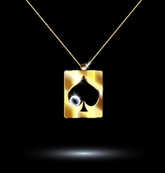 pendant card suit spades vector image vector image