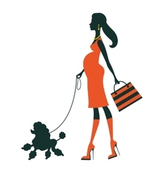 Beautiful pregnant woman silhouette with poodle vector image vector image