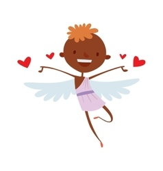 Cartoon cute cupid angel smile girl kid vector image