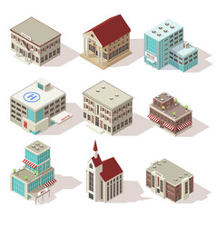 city buildings isometric icons set vector image vector image