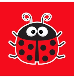 Cute cartoon lady bug sticker icon Red background vector image vector image