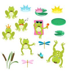frogs cartoon clipart set vector image