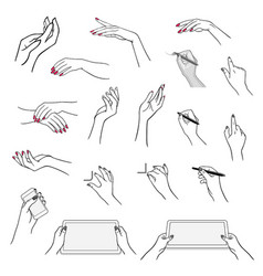 hands drawing using devices vector image vector image