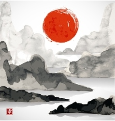 Landscape with mountains red sun and sea vector image vector image