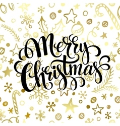 Merry Christmas lettering in golden seamless vector image