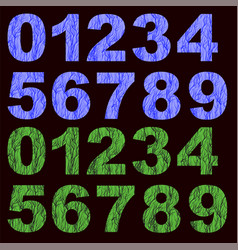 set of grunge blue green numbers vector image
