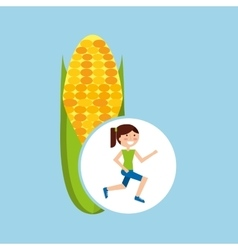 Girl jogger corn cob healthy lifestyle vector