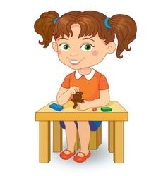girl making plasticine figures cartoon vector image