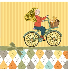 happy girl on bike vector image