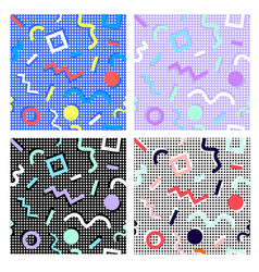 memphis pattern set from geometry backdrop dots vector image vector image