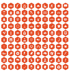 100 map icons hexagon orange vector image