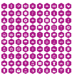 100 yoga studio icons hexagon violet vector