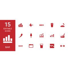 15 bar icons vector