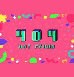 404 error not found in pixel art 8 bit vector image