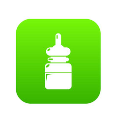 baby bottle icon green vector image