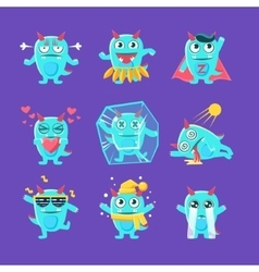Blue dragon character activities set vector