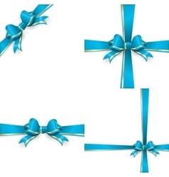 Blue gold bow templates EPS 10 vector image