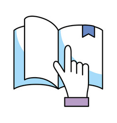 book with hand holding vector image