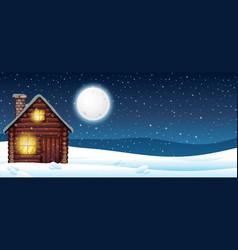 Cabin in snow vector