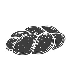 challah bread outline icon vector image