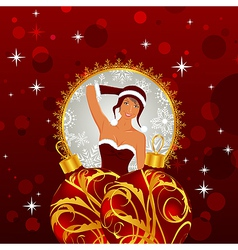 Christmas card with sexy lady and balls vector