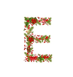 Christmas floral tree letter E vector