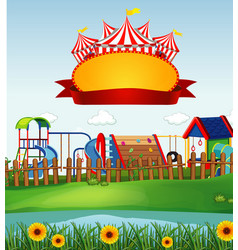 circus scene with sign template in sky vector image